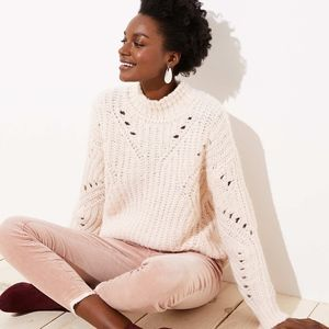 NWT Loft Seashell Pink Mock Neck Pointelle Sweater